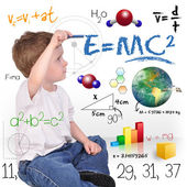 Young Math Science Boy Genius Writing — Stok fotoğraf