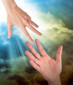 Hand Reaching for Safety Help in Clouds — Stock Photo