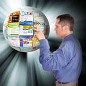 Internet Business Man Pointing to the Web — Stock Photo