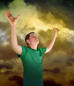 Religious Peace Man Reaching for the Sky Clouds — Stock Photo