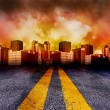 Road Going Into The City With Red Sunset — Stock Photo