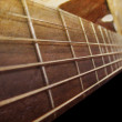 Old Brown Acoustic Guitar Closeup — Stock Photo