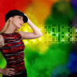 Dancing Woman at Nightclub with Abstract Backgroun — Stock Photo