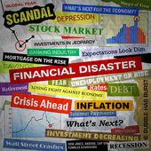 Business ekonomiska katastrof rubriker — Stockfoto