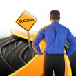 Decision Business Man Looking at Success Road — Stock Photo