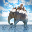 Stock Photo: Elephant Carrying City on Back with Clouds