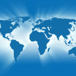 Blue Travel Earth Map Glowing - Stock Photo