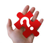 Red Question Puzzle Piece — Stock Photo