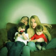 Family Watching Movie TV at Home — Stok fotoğraf