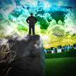 Business Man in Green Travel City - Stock Photo