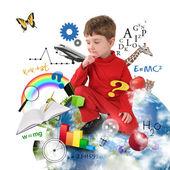 Utbildning skola pojke tänker på jorden — Stockfoto