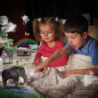 Animals at Bed Time with Children — Stock Photo
