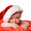 Santa Clause Baby with Hat on White — Stock Photo