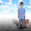 Lonley Boy Standing Alone with Teddy Bear — Stock Photo