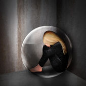 Sad Depressed Woman in Dark Bubble — Stock Photo