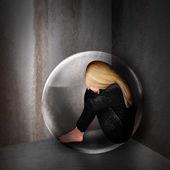 Sad Depressed Woman in Dark Bubble — Stock Photo