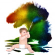 Baby Artist Painting on White — Stock Photo