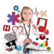 Child Doctor with Academic Career on White — 图库照片