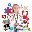 Child Doctor with Academic Career on White — Stockfoto