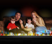 Entertainment Family Watching TV — Stock Photo