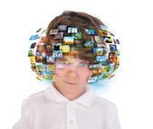 Young Boy with Media Images — Stock Photo