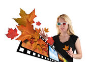 3D Woman Watching TV on White — Stock Photo