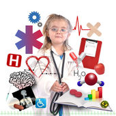 Child Doctor with Academic Career on White — ストック写真