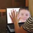 Family on Web Cam Laptop Together — Stockfoto