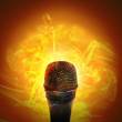 Hot Music Microphone Burning — Stock Photo