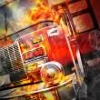 Red Burning Fire Rescue Truck with Flames — Foto Stock