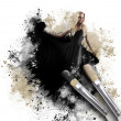 Painting Woman with Artistic Paintbrush — Stock Photo