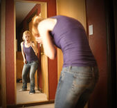 Sad Angry Woman in Mirror — Stock Photo