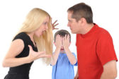 Angry Parents Fighting with Boy Child — Stock Photo