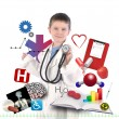 Stock Photo: Child Doctor with Health Icons on White