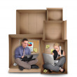 Small Entrepreneur Working in Box — Stock Photo