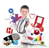 Child Doctor with Health Icons on White — Stock Photo