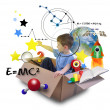 Science Boy in Space Box with Stars — Stock Photo #22931448