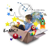 Science Boy in Space Box with Stars — Stock Photo