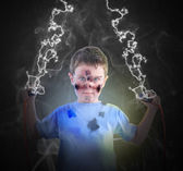 Electricity Science Boy with Plugs — Stock Photo