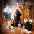 Beauty Glamour Girl Cleaning House  — Stock Photo