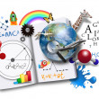 Stock Photo: Open Learning Book with Science and Math
