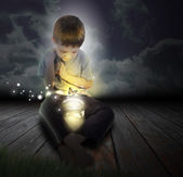 Bug Boy Child with Glowing Butterfly at Night — Stock Photo