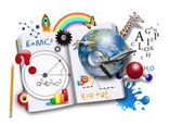 Open Learning Book with Science and Math — Stock Photo