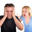 Couple Fighting and Yelling on White — Stock Photo