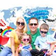 Family Vacation Trip with Icon on White — Stock Photo