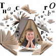 School Boy Reading Book with Letters — Stock Photo