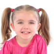 Happy Little Girl on White Background — Stock Photo