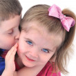 Little Child Getting a Kiss on the Cheek — Stock Photo