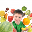 Healthy Fruit Child on White — Stock Photo