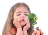 Girl and Healthy Broccoli Diet on White — Stock Photo